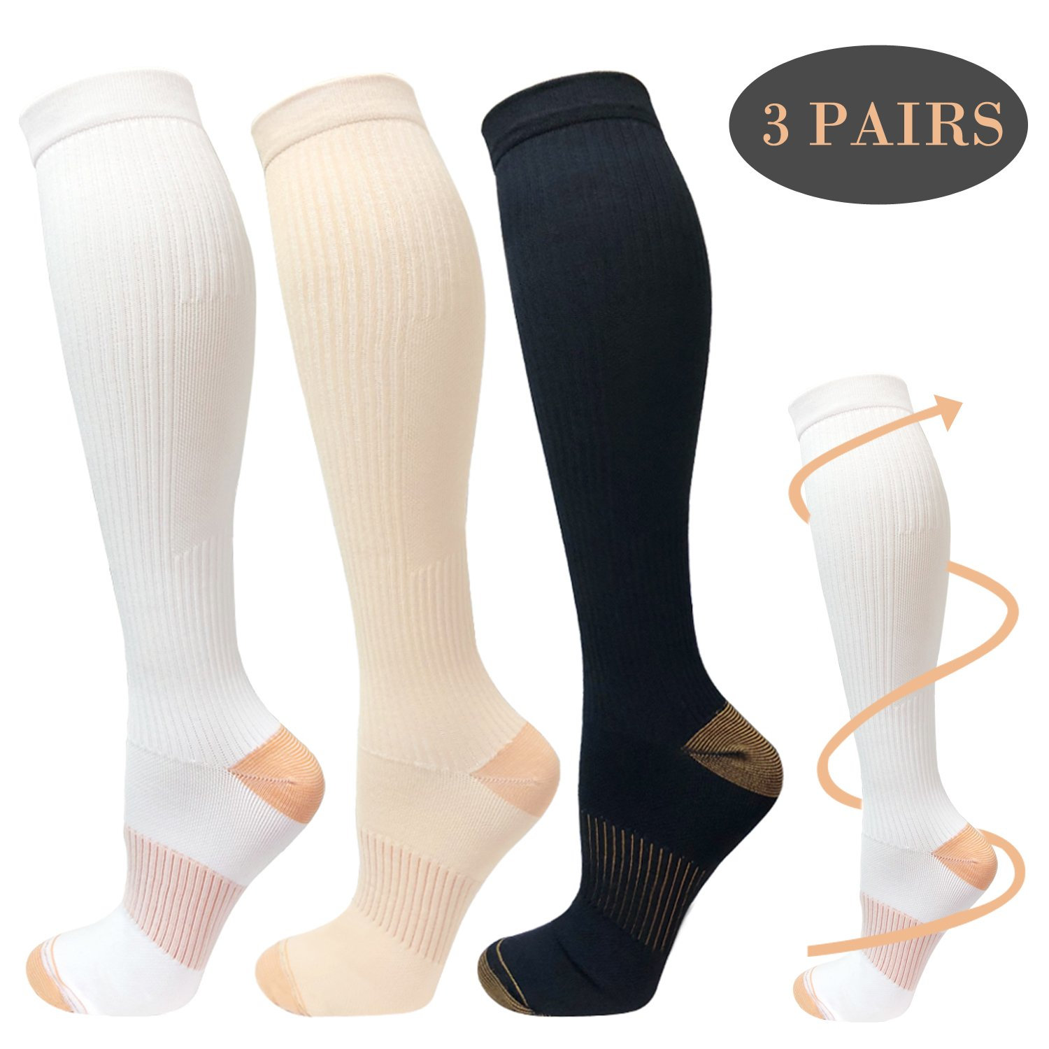 Copper Compression Socks For Men&Women -3 Pairs - Best Recovery Support Socks For Running,Athletic,Medical,Pregnancy and Travel -15-20mmHg (Style 1, L/XL)