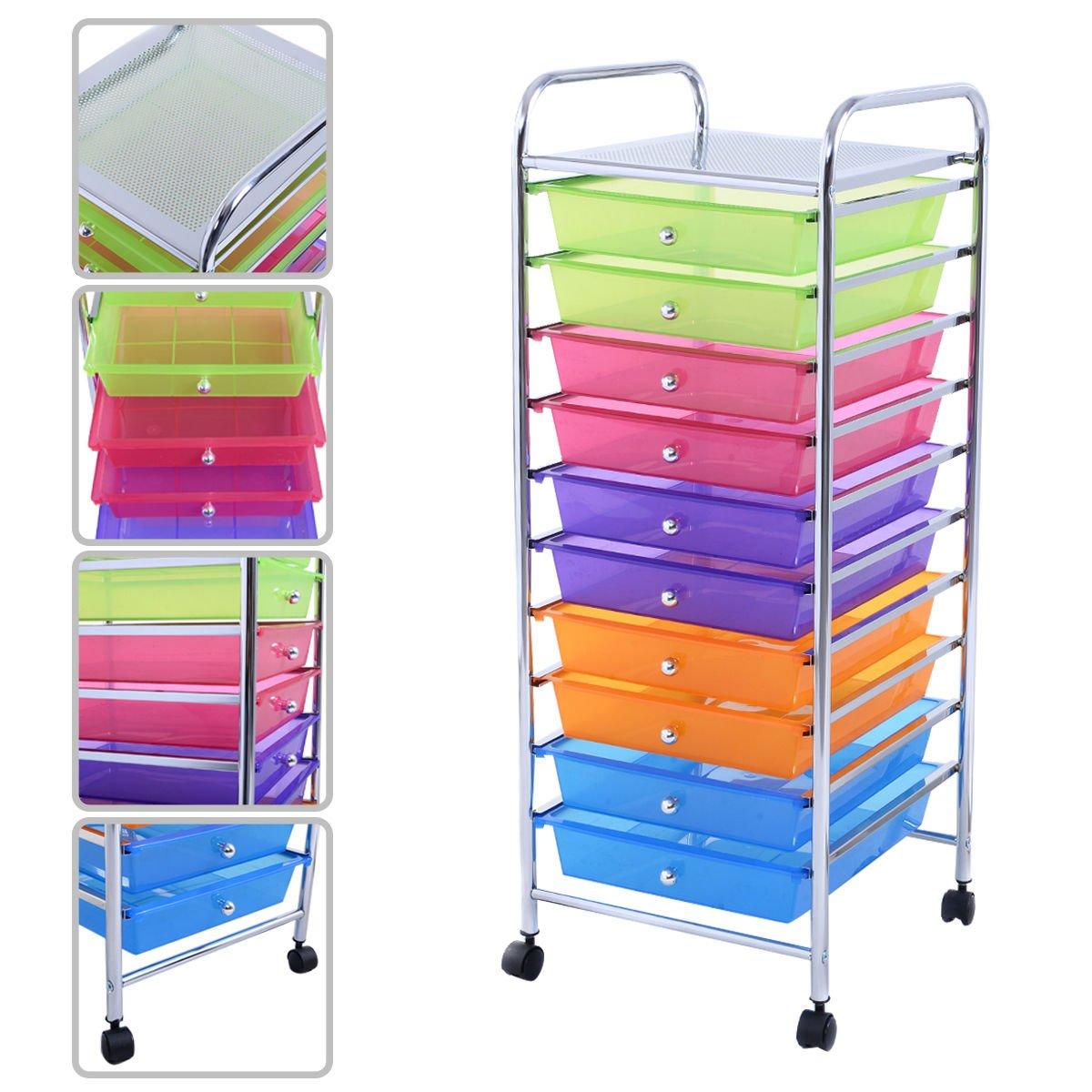 KAYSEV 10 Drawer Rolling Storage Organizer Cart, Multi-Purpose Scrapbook Paper Office School Utility Organizer Rainbow, Tray Drawer (Multi-Color)