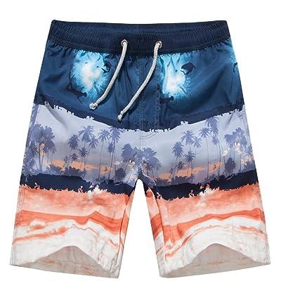 UHT28DG Blue Penguins Pattern Mens Beach Shorts Slim-Fit Swim Trunks