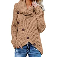 WOCACHI Womens Knitted Pullover Sweaters Stack Collar Jumpers Split Hem Blouses