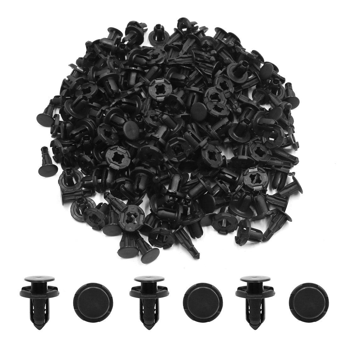uxcell 100pcs Black Plastic 9mm Car Push Clips Panel Rivets Fender Bumper Fastener