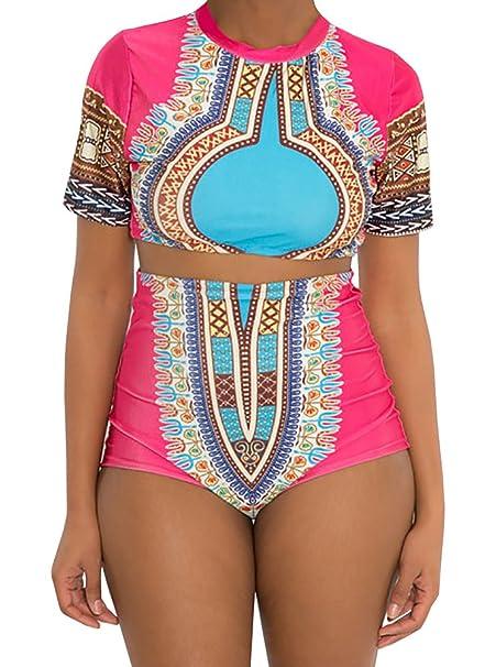 d15c5539708af Amazon.com: Nulibenna Women's African Dashiki Bandage Halter Cut Out  Swimsuit Bikini Set: Clothing