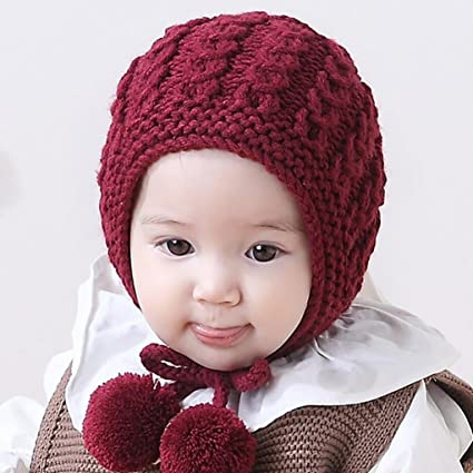 3abd37a8055 Lavany Toddler Cap Baby Boys Girls Earflaps Kids Knitting Winter Warm Ball  Hats (Red)  Amazon.ca  Clothing   Accessories