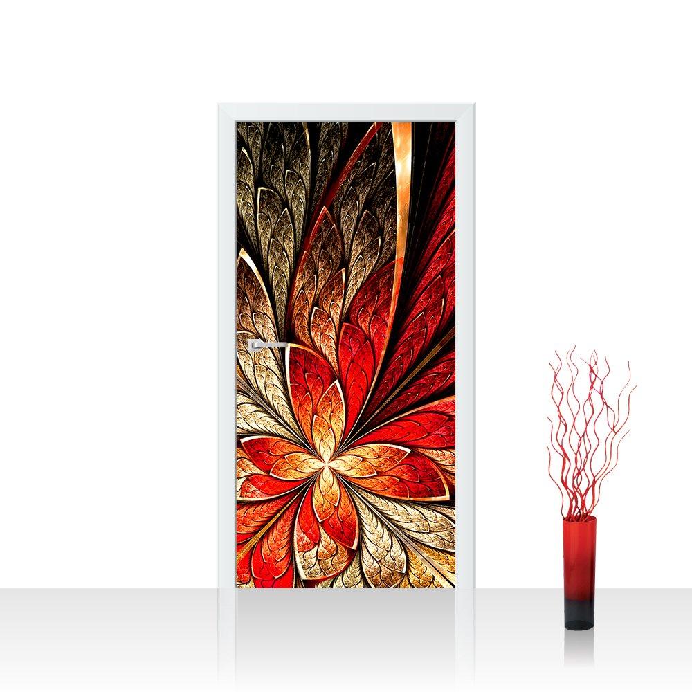 Ornament abstrakt 3D Wand Rot Gelb Hintergrund YELLOW AND RED FLORAL ORNAMENT no 115 T/ürtapete selbstklebend 100x211 cm PREMIUM PLUS T/ür Fototapete T/ürposter T/ürpanel Foto Tapete Bild
