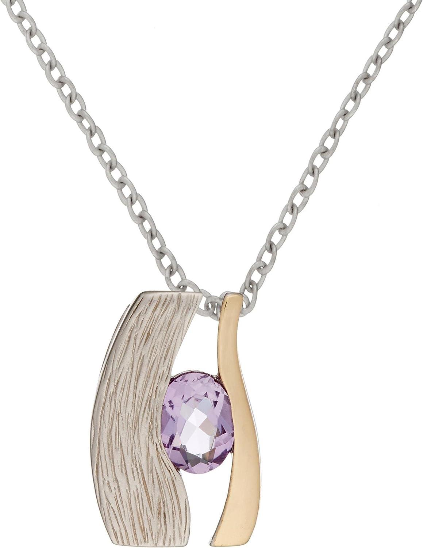 Silverly Pendiente de la Mujer en Plata 925 Collar Plateado en Oro 14K Ojo de Piedra Amatista, 46 cm
