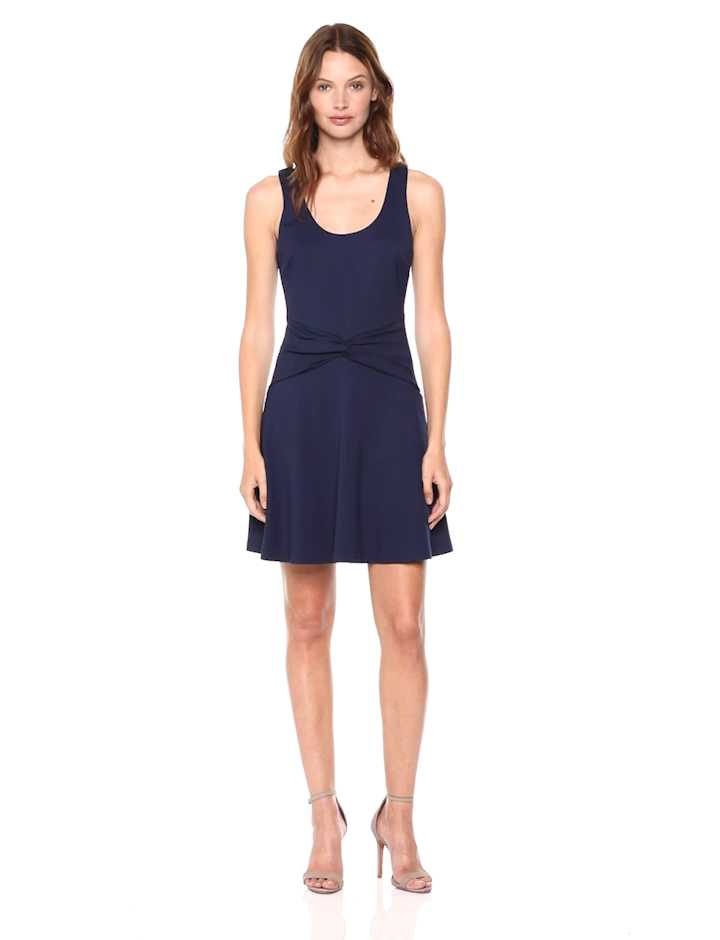 Stretch Ponte Sleeveless Dress L and Out Fit Shake Jay Ali Navy amp; Knit It Flare Women's wq1AWIX