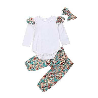 deb2566c9a96 Amazon.com  Casual Newborn Baby Girls 3pcs Clothes Long Sleeve ...