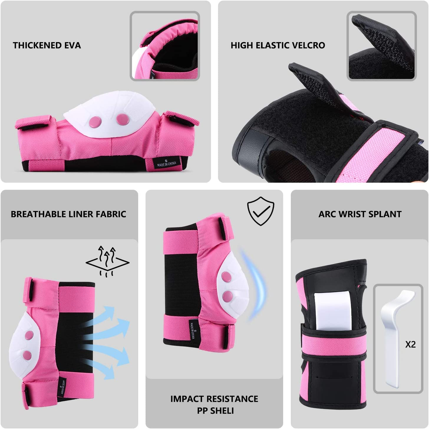 Scooter Riding Wrist Guards 3 in 1 Protective Gear Set for Rollerblade Lumb Kids Knee Pad BMX Bike Roller Skating Elbow Pads Cycling Skateboard Sport Pads for Youth Boys and Girls.
