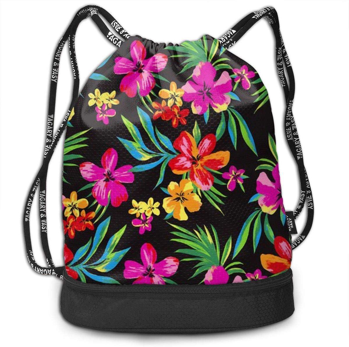 Mochila gótica de Viaje con cordón para Guardar la Marihuana y el Humo, Ideal para Hombres y Mujeres, niños y niñas, Color Hawaiian Colorful Flower, tamaño One_Size