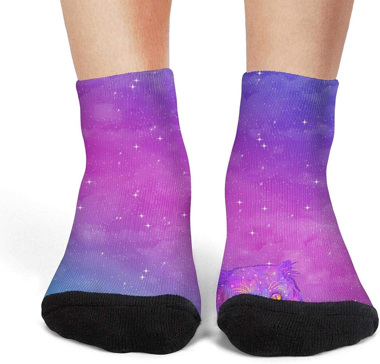 XIdan-die Womens Athletic Crew Socks Cat In beautiful galaxy Space Moisture Wicking Casual Socks