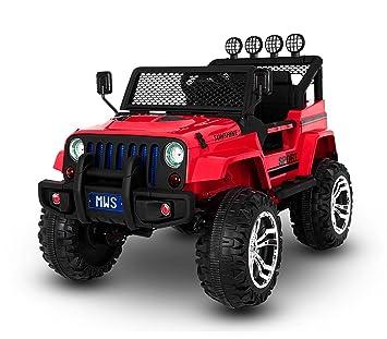 LT 863 Coche eléctrico para niños JEEP SPORT 4 ruedas asientos de cuero (Rojo): Amazon.es: Juguetes y juegos