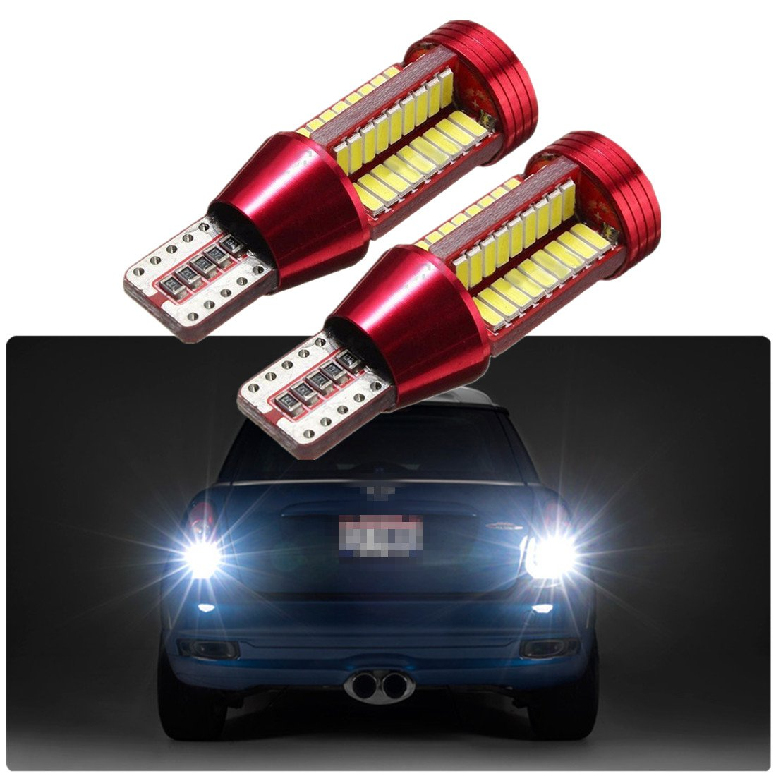 FEZZ Auto LED Bulbs CANBUS T15 W16W 921 4014 78SMD for Backup Reverse Brake Tail Lights Lamps FZ0150