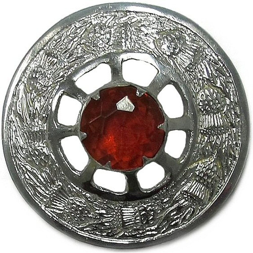 Tartanista - Broche écossaise ronde pour fly plaid - finition chromée - pierre rouge