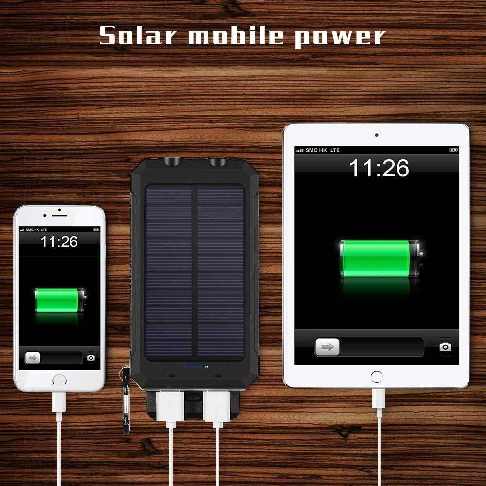 Solar Charger,10000mAh Solar Power Bank Portable External Backup Battery Pack Dual USB Solar Phone Charger with 2LED Light Carabiner and Compass for Your Smartphones and More (Orange)