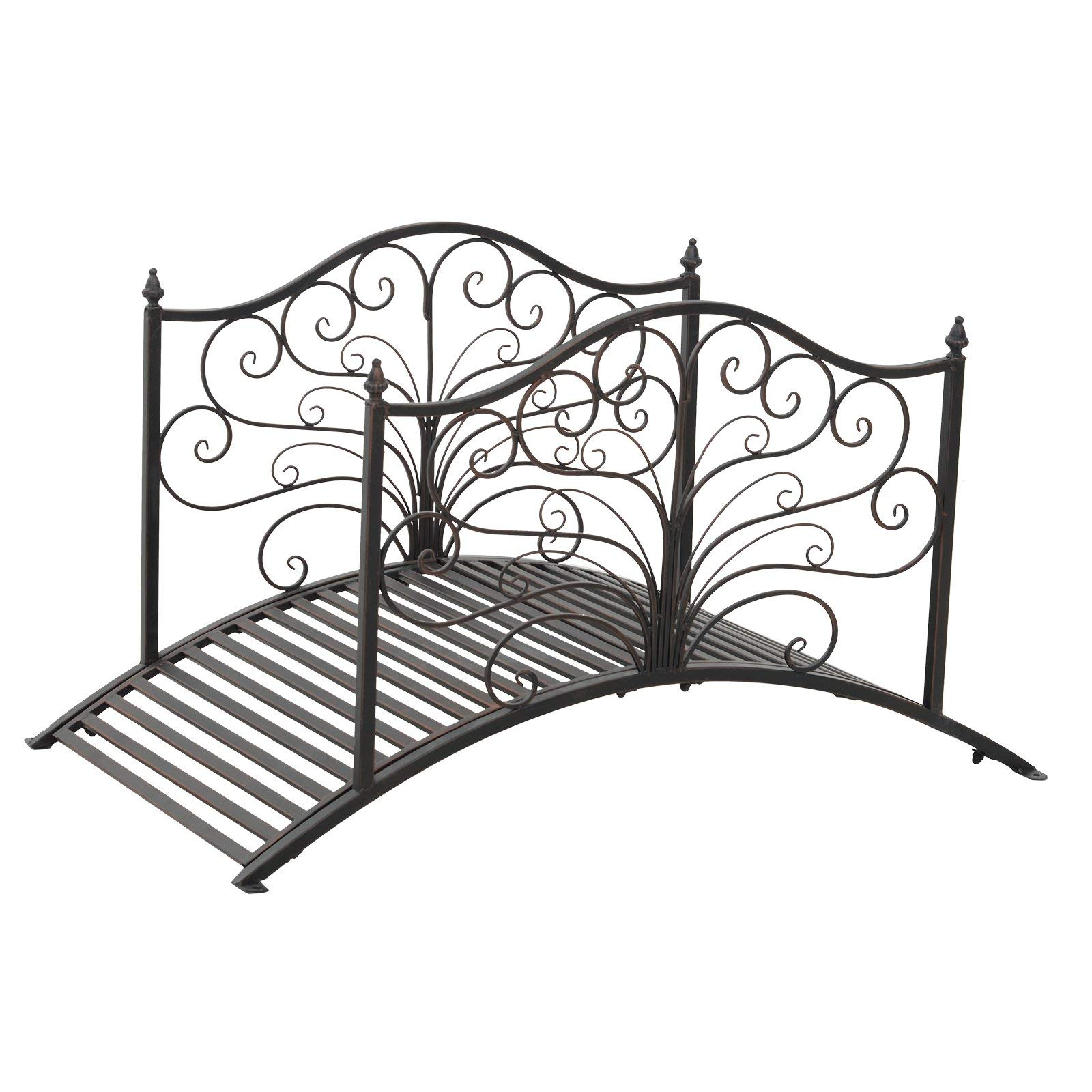 Festnight Outdoor Metal Garden Bridge Patio Backyard Decorative Bridge Black Bronze, 4' by Festnight (Image #2)