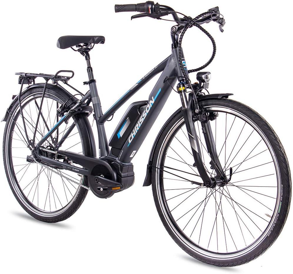 CHRISSON Bicicleta eléctrica para mujer, 28 pulgadas, bicicleta de trekking y ciudad, color antracita mate, 7 marchas Shimano Nexus, Pedelec con motor central Bosch Active Line 250 W, 40 Nm: Amazon.es: Deportes