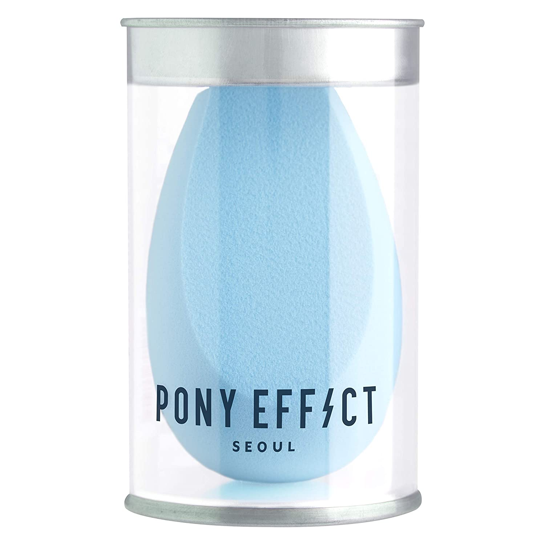 PONY EFFECT Pebble Blender Foundation Blending Sponge | #Powder Blue | Unique Edge-Cut Shape Cosmetic Sponge Applicator | K-Beauty
