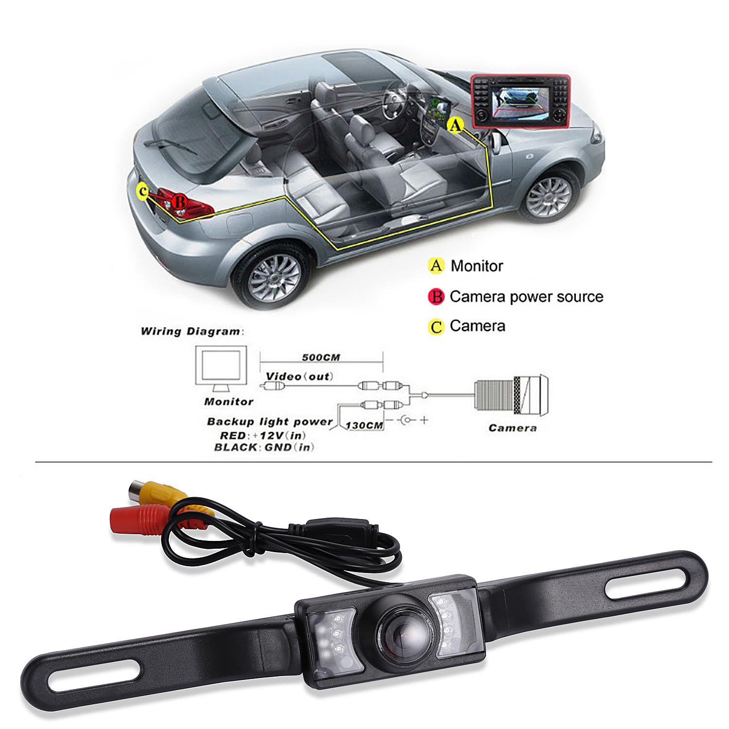 Noiposi Backup Camera And Monitor Kit For Car Universal Back Up Wiring Diagrams Waterproof Night Vision Linsence Plate Rear View 43 Tft Lcd