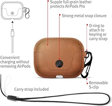 Twelve South Airsnap Pro Leather Protective Case Cover With Loss Prevention Clip And Optional Carry Strap