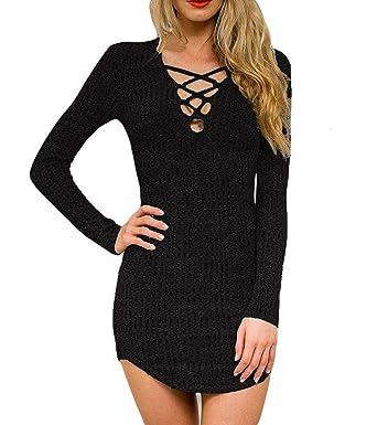Amazon.com  DREAGAL Women s Plunge Neck Lattice Lace Up Long Sleeve ... e2a37c809