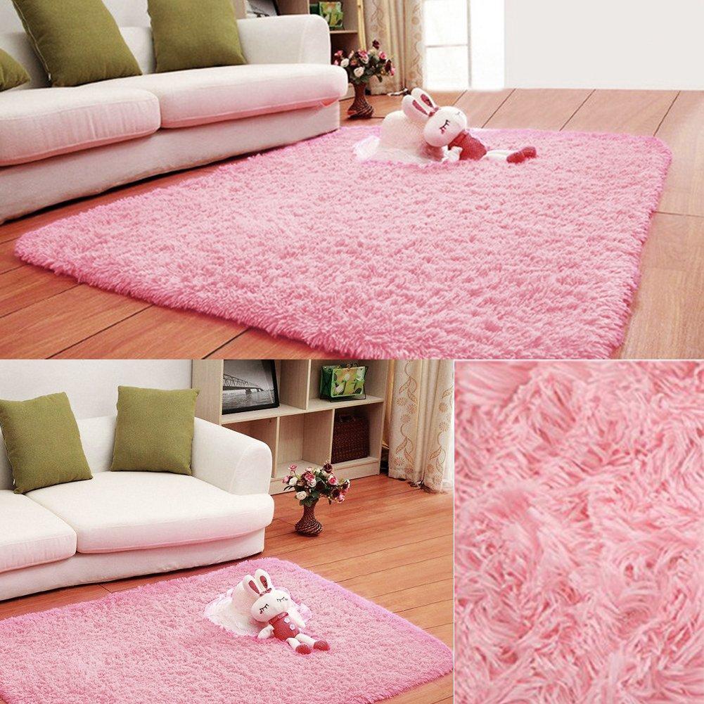 Junda Shaggy Fluffy Rugs Anti-Skid Area Rug Floor Mats Door Mats Silk Plush Carpet for Living Room Hallway Bedroom - Black, S