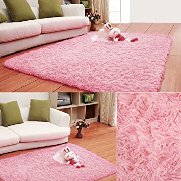 Junda Shaggy Fluffy Rugs Anti-Skid Area Rug Floor Mats Door Mats ...