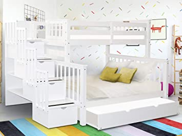 Amazon Com Bedz King Stairway Bunk Beds Twin Over Full With 4 Drawers In The Steps And A Twin Trundle White Furniture Decor
