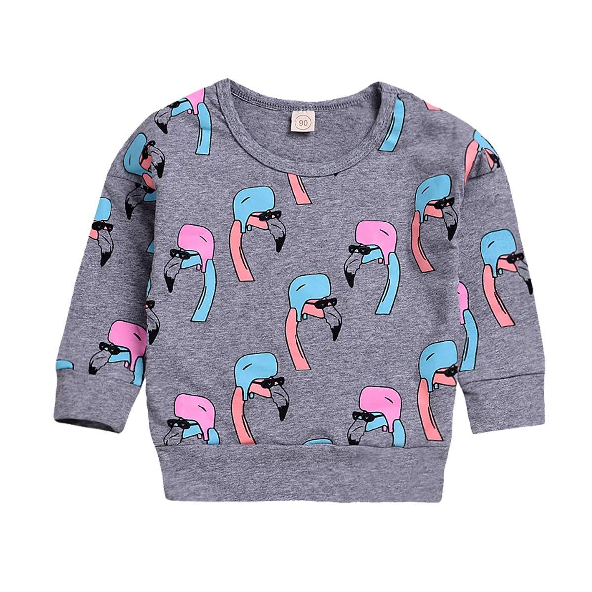 Happy Town Newborn Baby Boy Girl Long Sleeve Flamingo Sweatshirt Sweater Pullover T-Shirts