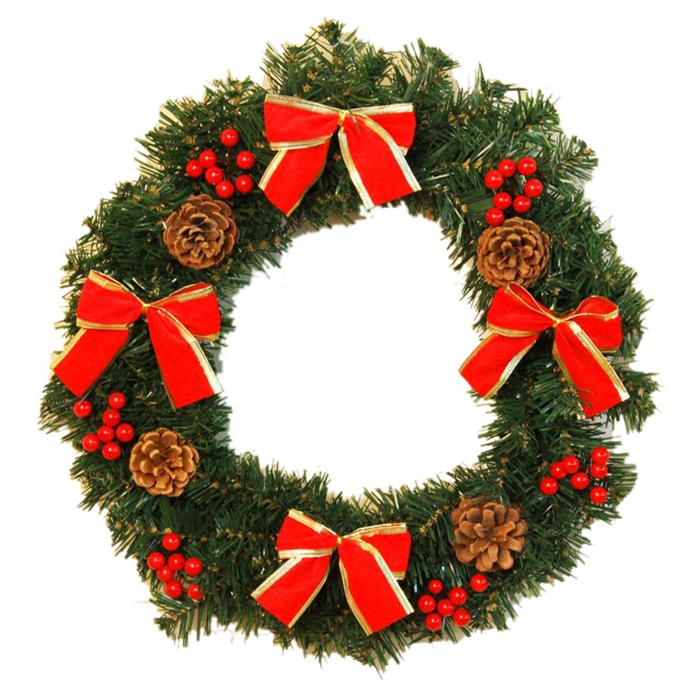 Red Bow Christmas Wreath Garland Ornaments Arcades Hotel Christmas Decorations