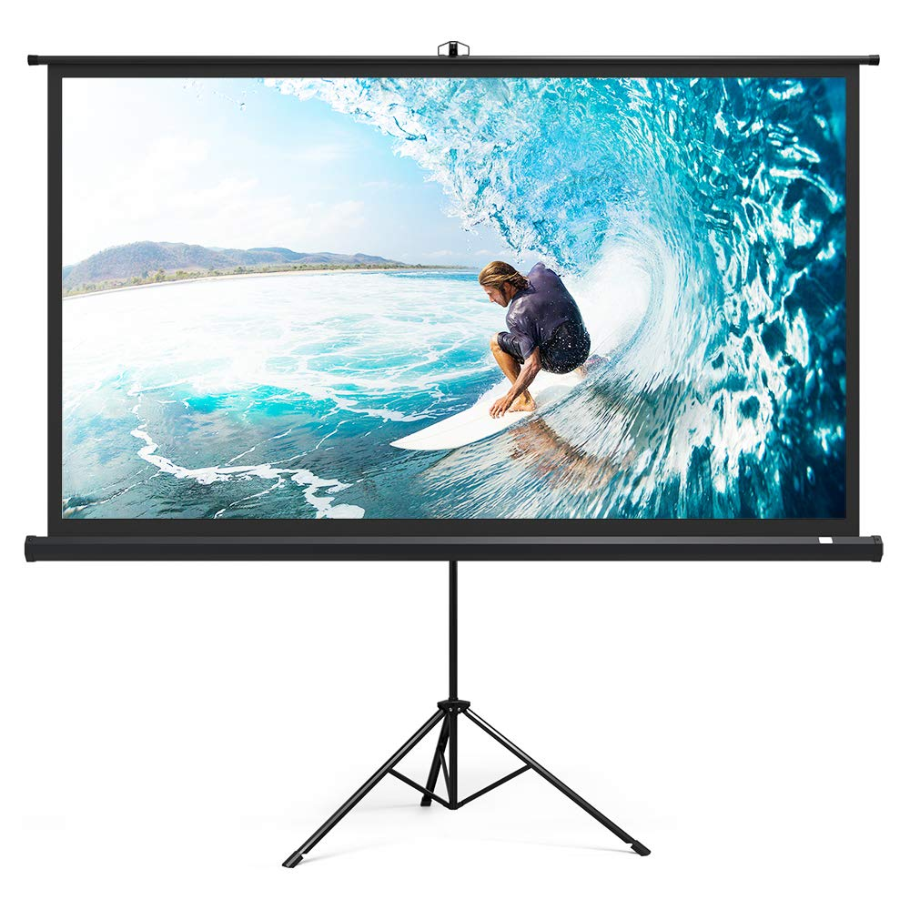 Projector Screen with Stand, TaoTronics Indoor Outdoor Projection Screen 4K HD 100 Inch 16:9 with Premium Wrinkle-Free Design (Easy to Clean, 1.1 Gain, 160° Viewing Angle & Includes a Carry Bag)