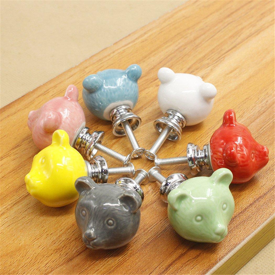Cartoon Animal Shaped Ceramic Door Knob Dresser Kitchen Cabinet Cupboard Drawer Pulls Handles 10 pack,Blue
