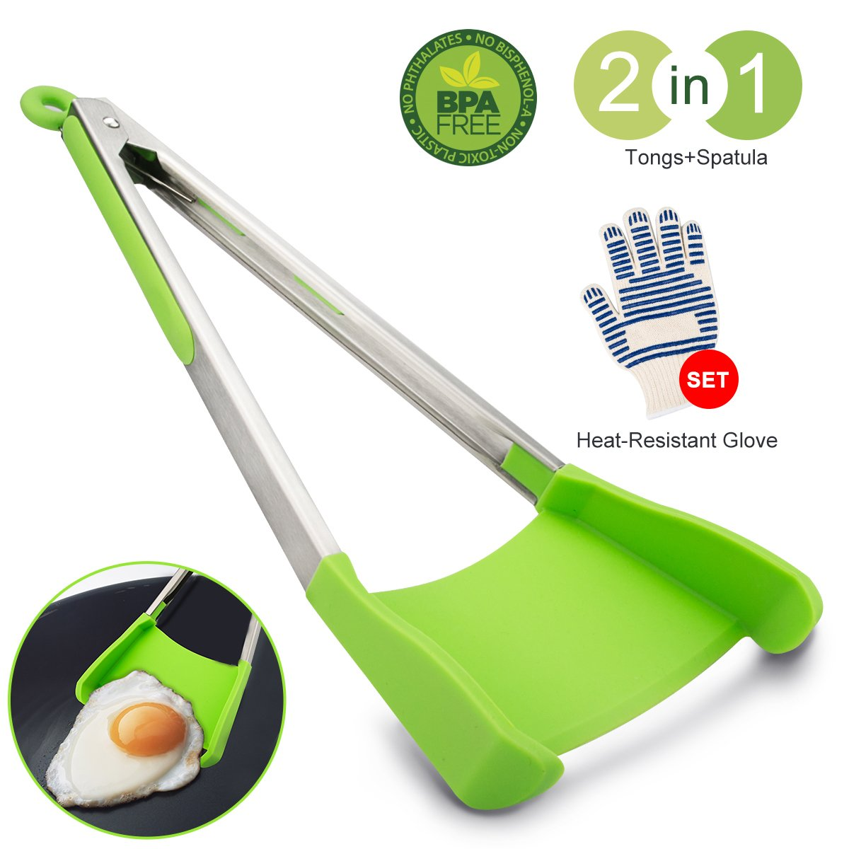 Kitchen Tongs Set of 2, Tongs For Cooking 2 in 1 Spatula Tongs With Silicone Tips Non-stick And Oven Glove For Grill BBQ 12 Inch (1 Tongs & 1 Oven Glove)
