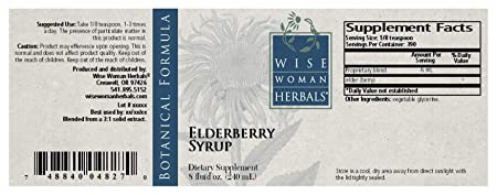 Wise Woman Herbals Elderberry Syrup 8 Oz – All-Natural Immune System Booster, Supports a Healthy Immune System During Cold, Flu and Fever Seasons, Strengthen Mucus Membranes and Respiratory Tract