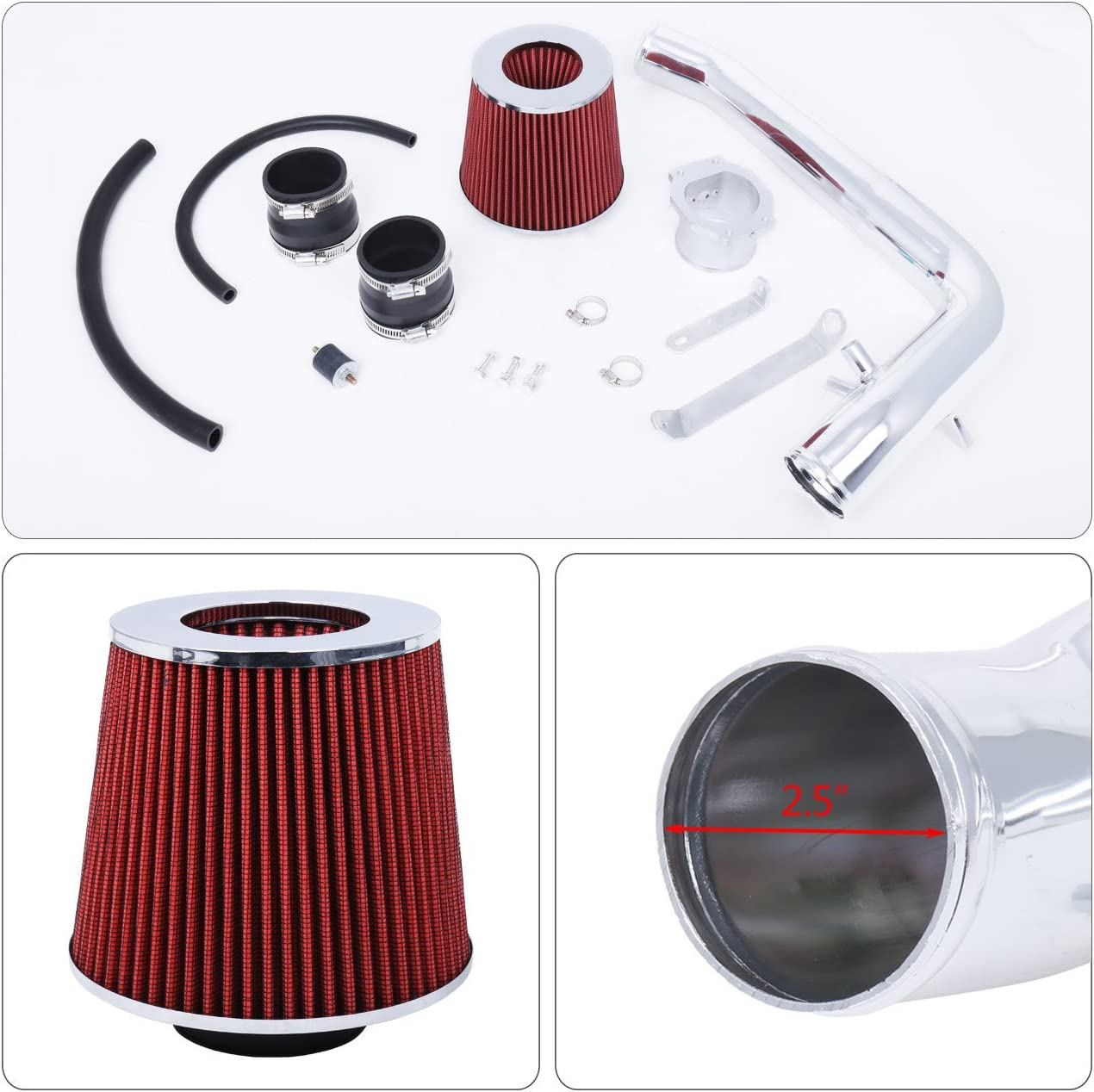 """1991-1994 240 SX Chrome Pipe Cold Air Intake System Kit w// 2.75/"""" Red Air Filter"""
