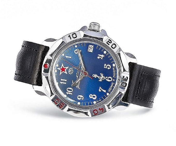 Reloj de pulsera, modelo Vostok Komandirskie. Reloj mecánico con motivos militares, de la Armada de la antigua URSS #211307: Amazon.es: Relojes