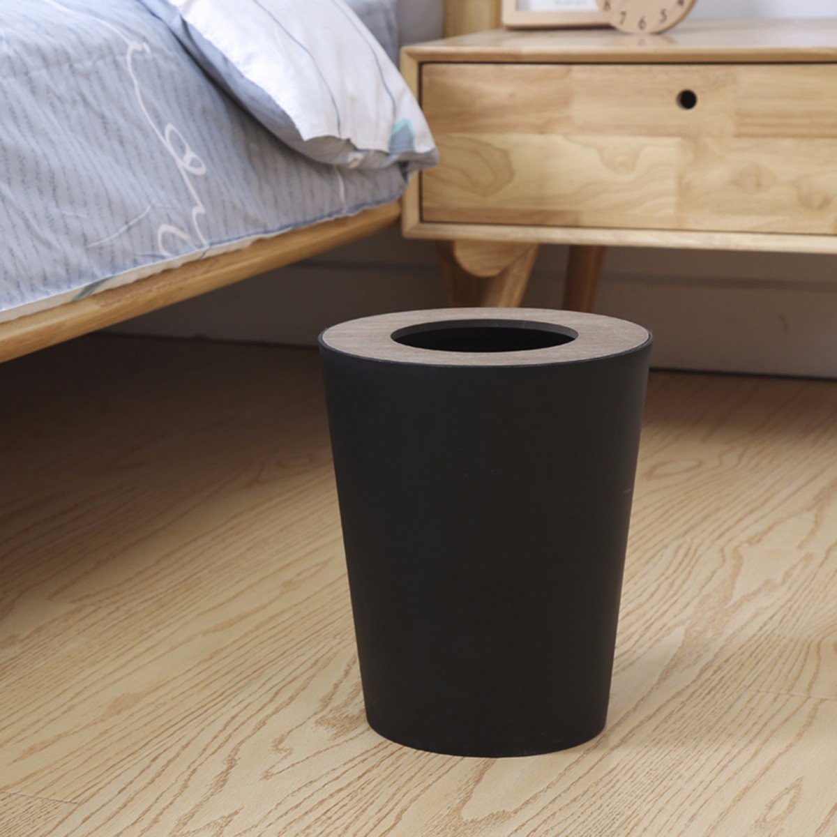 TDLC Creative North European household with cover wood covered the living room Bathroom kitchen with minimalist cover Waste Basket basket, B by TDLC (Image #2)