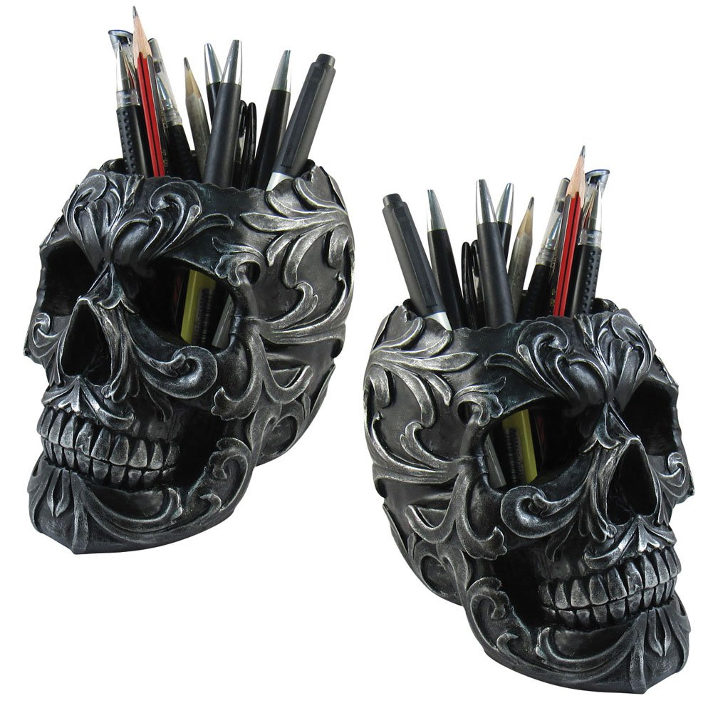 (Set/2) Skull Shaped Pencil Holder Office Desk Supplies Organizer Accessory by Johnson Smith Co.
