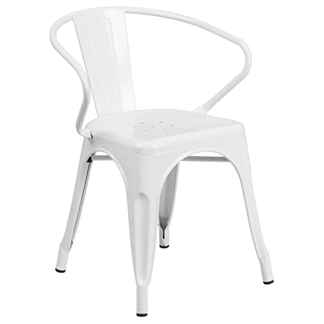 High Quality Flash Furniture White Metal Indoor Outdoor Chair With Arms