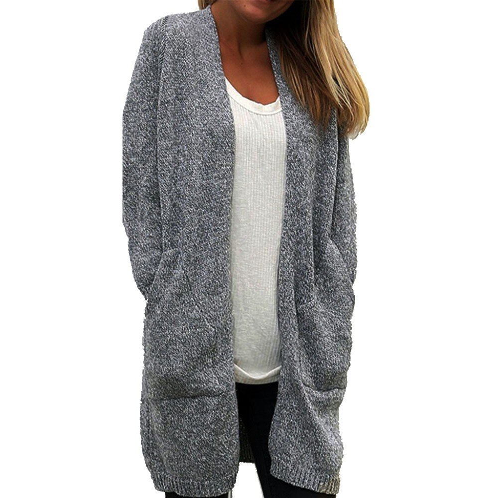 Challyhope Women Lantern Sleeve Loose Big Pockets Knitted Sweater Cardigan Outwear (Free, Gray)