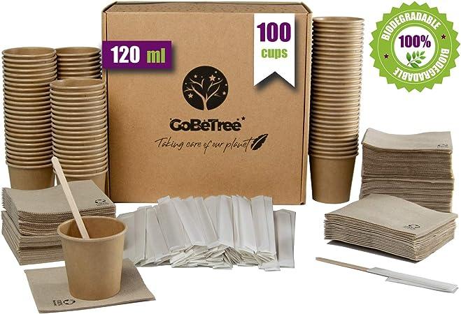 GoBeTree 100 Vasos de café Desechables Kraft con PLA para café expreso de 120 ml con agitadores de Madera en Funda de Papel para café y servilletas recicladas: Amazon.es: Hogar