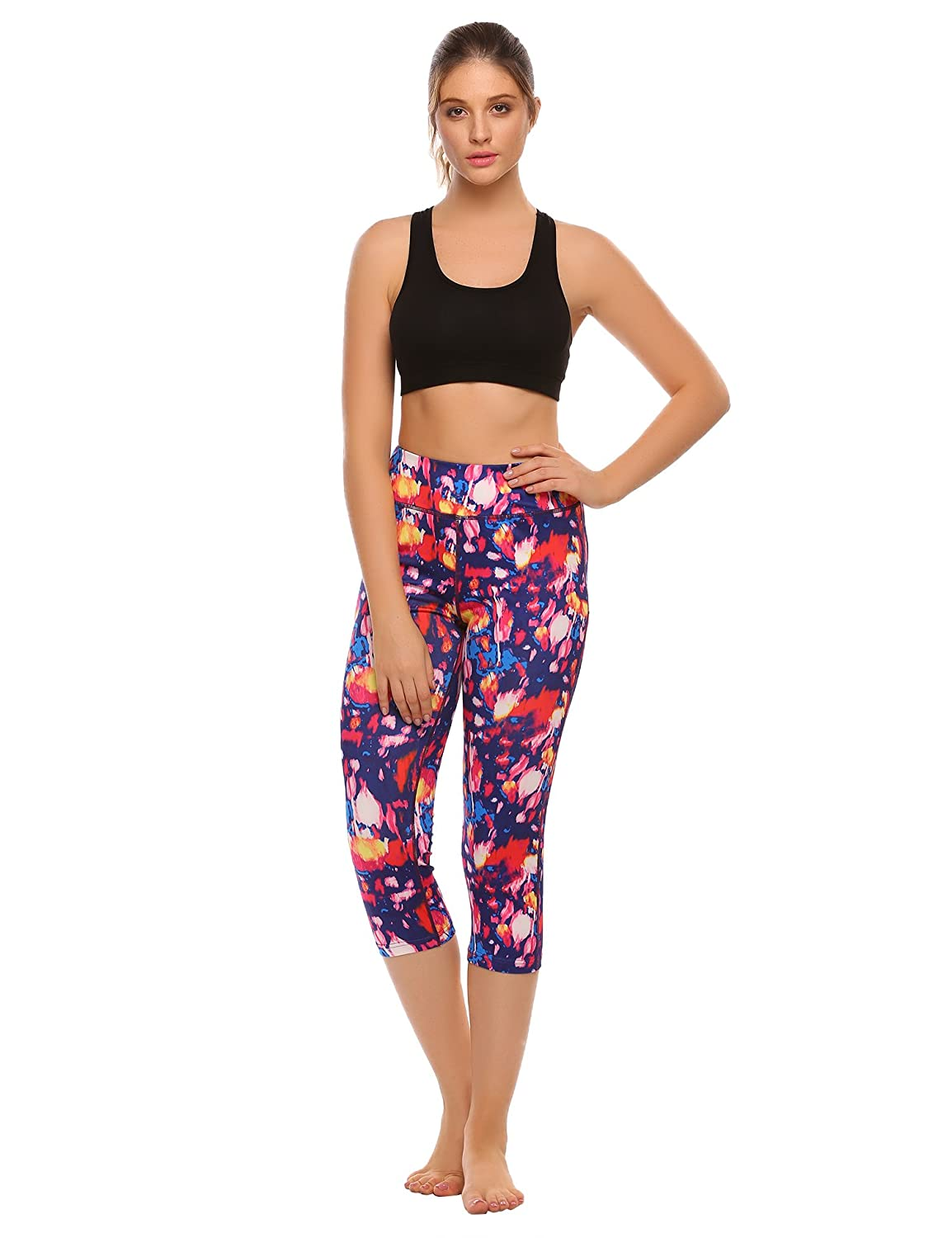 d0bb714ca744a Amazon.com  Ekouaer Womens Patchwork Quick Dry Yoga Leggings Sports Capris  Pants Running Tights  Clothing
