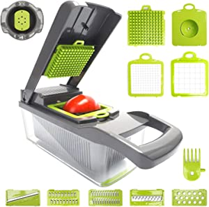 Multiple Vegetable Onion Chopper Mandoline Slicer - Food Cutter, Dicer, Grater, Shredder - Kitchen Gadgets, Tools and Accessories - Durable Stainless Steel Blades(Green)