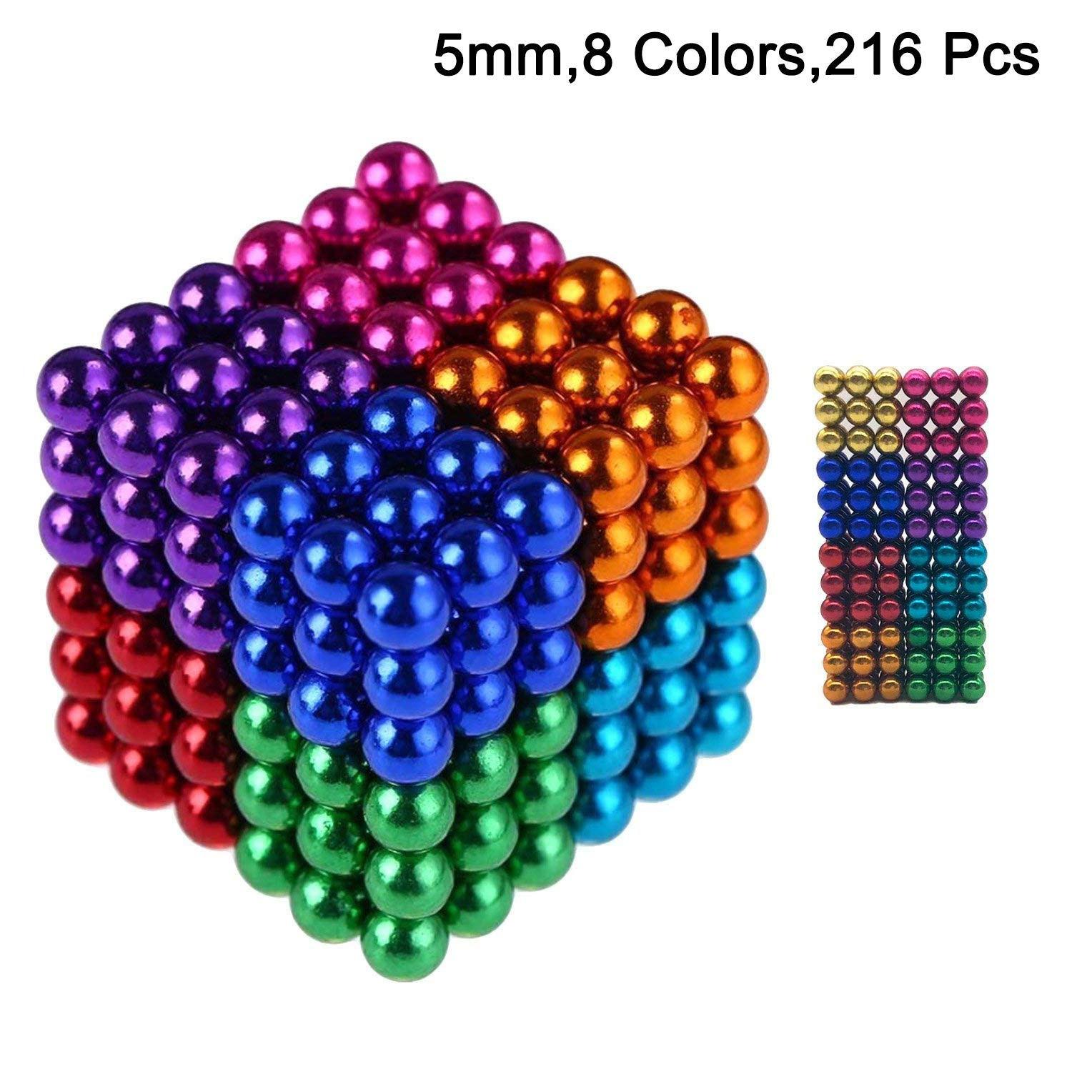 5mm Colorful Magnetic Fidget Blocks Balls, EVERMARKET Magnetic Sculpture Puzzle Toy for Intelligence Development and Stress Relief, a Toy for Office, Education - with Metal Gift Box (8 Colors Style) EVERMARKET INC