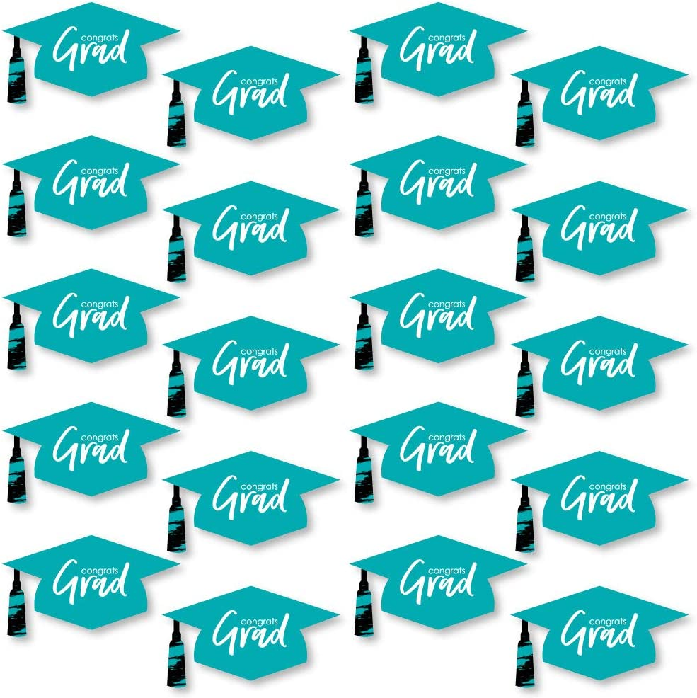 Big Dot of Happiness Teal Grad - Best is Yet to Come - Graduation Hat Decorations DIY Turquoise Graduation Large Party Essentials - 20 Count