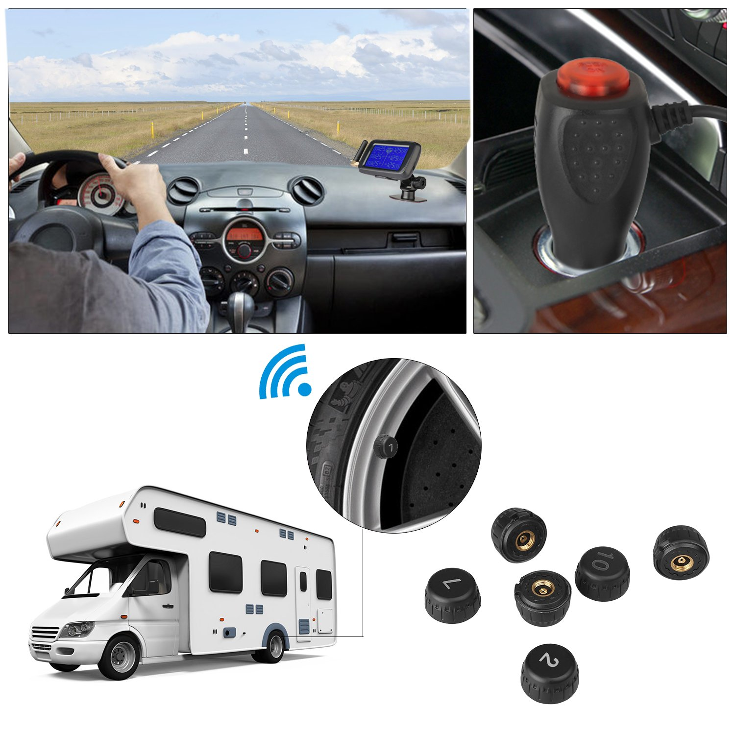 B-Qtech Tire Pressure Monitoring System for RV Wireless TPMS with 6 External Sensors, Suction Cup Mounting by B-Qtech (Image #6)