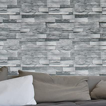 HaokHome 454003 Modern Faux Stone Wallpaper Roll Gray 3D Brick Realistic Paper Room Wall Decoration 208quot