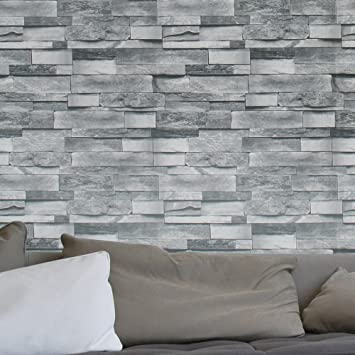 HaokHome 454003 Modern Faux Stone Wallpaper Roll Gray 3D Brick Realistic  Paper Room Wall Decoration 20.8&quot