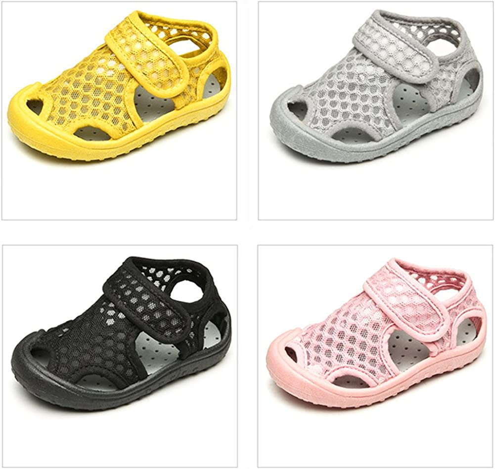 YOHA Boys Girls Breathable Mesh Water Shoes Soft Rubber Sole Toddler Sneaker Kids Slip-on Beach Shoes Gray,14