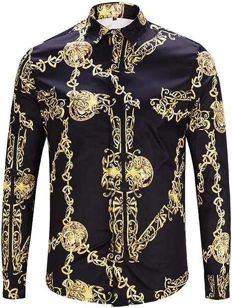 CHENS Camisa/Camisetas/Casual/Camisa de Primavera para Hombre Personalidad de la Moda Estampado de Cadena de Oro Negro Camisa de Manga Larga para Hombre: Amazon.es: Deportes y aire libre