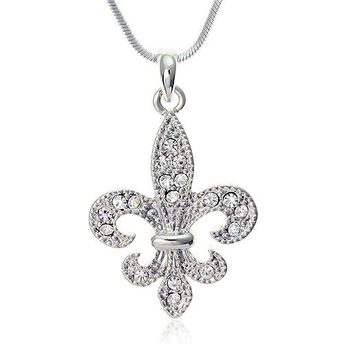 Amazon pammyj clear crystal fleur de lis charm pendant necklace pammyj clear crystal fleur de lis charm pendant necklace 18quot aloadofball Choice Image
